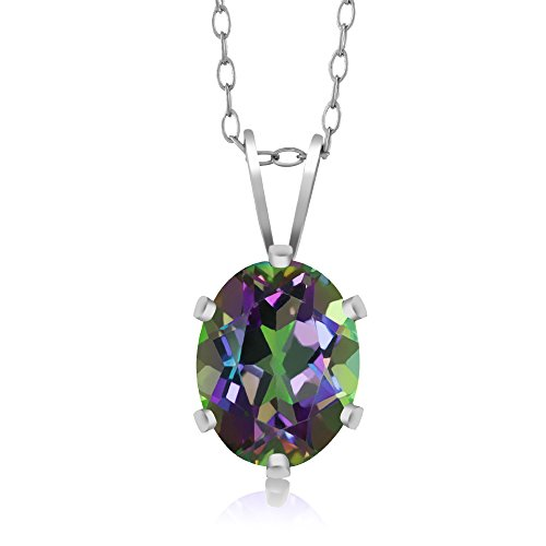 Sterling Silver Green Mystic Topaz Gemstone Pendant Necklace (1.35 cttw, 8X6MM Oval, With 18 Inch Silver Chain)