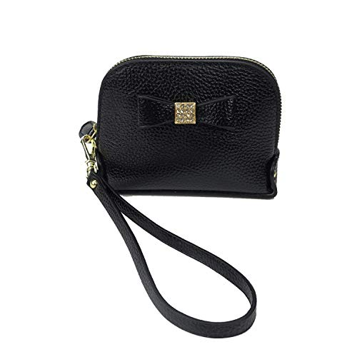 Mini Handbag Coin Purse - Coin Purse Wallet leather Wristlet Handbags with Wrist Strap Cute Mini Designer Pouch Great Gifts for Women Girls(Bow Black)