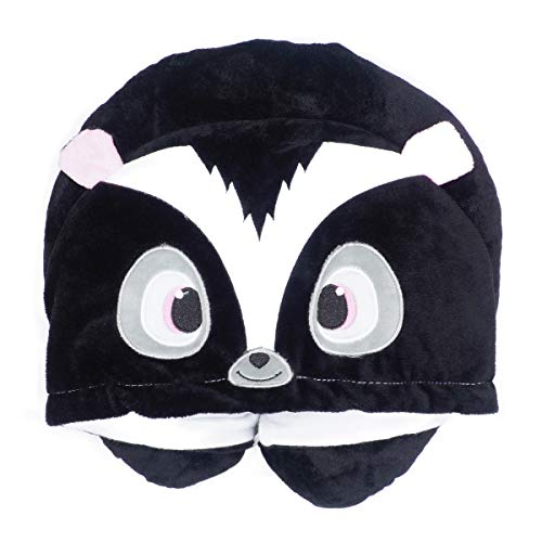 LOVOUS Cute Cartoon Animal Hooded Travel Neck Support Pillow Soft Plush Toy Comfortable U Shaped Pillow with Hat for Airplane, Office (Skunk)