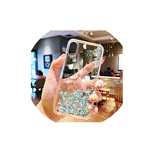 Quicksand Case for iPhone 7 8 X XR Xs Max Dynamic Liquid Hard PC for iPhone 7 8 6 6s Plus Glitter Coque ipone Capa Capinha,Sliver,for iPhone X