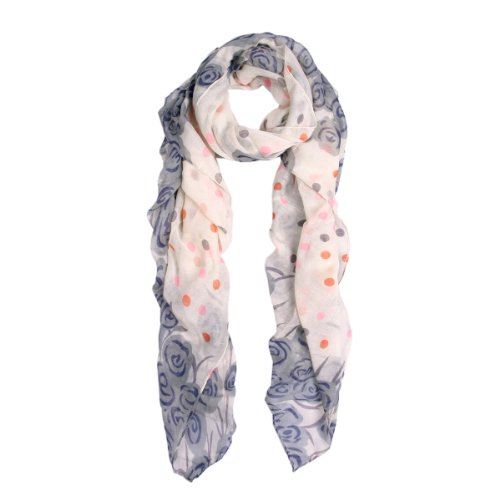 Abstract Scarf (Chic Roses & Polka Dot Floral Print Scarf, Grey)