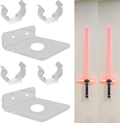 Pmsanzay 2 Pack Universal Clear Acrylic Rack Lightsaber Display Wall Mount Light Saber Wall Rack Lightsaber Laser Sword Light Saber Wall Holder Led Light Saber Stand Hardware Included Amazon Co Uk
