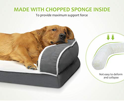 Pecute Orthopedic Dog Sofa Bed (L 89 * 56 * 18 cm), Egg Crate Memory Foam Pet Couch Bed with 3 Sides Bolster for Good Support, Removable Washable Cover, Non Slip Base, Ideal for Medium Dogs & Cats
