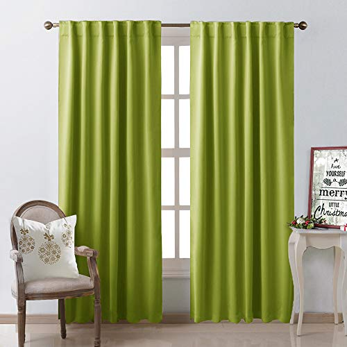NICETOWN Green Curtains Blackout Drapery Panels - (Grass Green Color) W52 x L95, Double Panels, Window Treatment Draperies for Apartment (Drapery Panels Lime Green)