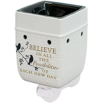 Elanze Designs Birds on a Tree Believe Grey Ceramic Stoneware Electric Plug-in Outlet Wax and Oil Warmer