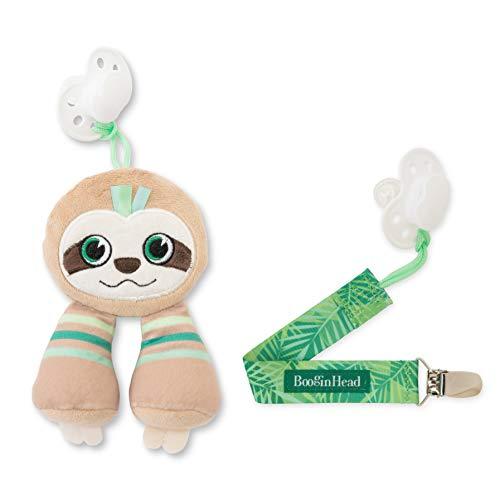 BooginHead Baby Newborn PaciPal PaciGrip Pacifier Clip Sloth, Brown/Green (2 Piece Set)