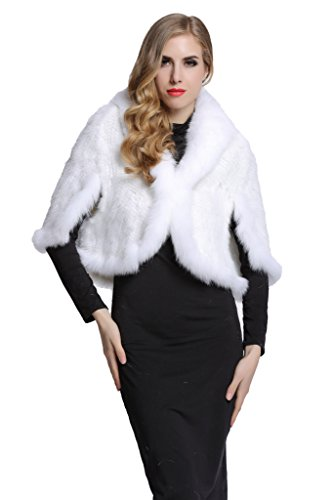 Topfur Women's Real Mink Fur Cape Shawl Stole Real Fur Trim Cappa with Fox Fur Collar(White) by TOPFUR