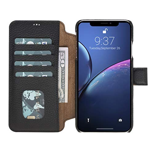 - Venito Siena Handmade Ultimate Premium Leather Wallet Case with RFID Protection Feature for iPhone Xs MAX (Black)
