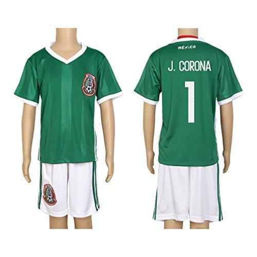 - 2016 Copa #1 J. Corona Green Home Kids Soccer Jersey & Short Kit Set