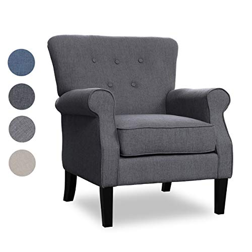 Top Space Accent Chair Sofa Mid Century Upholstered Roy Arm Single Sofa Modern Comfy Furniture for Living Room,Bedroom,Club,Office (1 PCs-1, Deep Gray) (Small Club Chairs Upholstered)