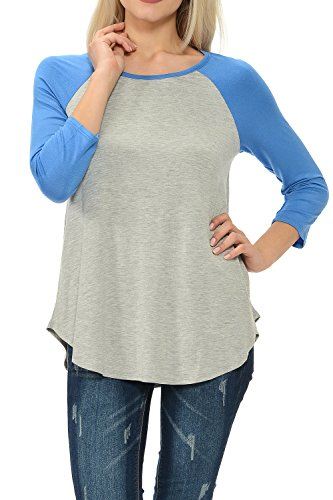 Neck 3/4 Raglan Sleeve Long T-shirt Tunic Top Heather Blue Large ()