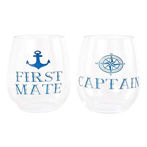 DEI 20632 Plastic Stemless Wine Glass, 8.0 x 3.0 x 4.5, Blue]()