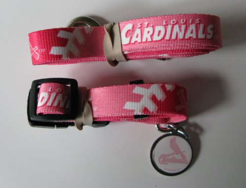 Hunter St. Louis Cardinals Pet Collar, Lead and ID Tag Combo Set, Large, Pink