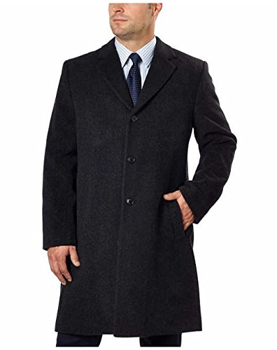 Hathaway Platinum Men's Wool & Cashmere Jacket Top Coat Woven in Italy (44R, Charcoal) by Hathaway Platinum