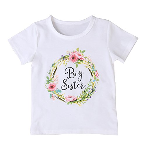 MA&BABY Newborn Baby Girls Romper Tops White Shirt Sisters Outfits Clothes Set (3T, Big Sister)