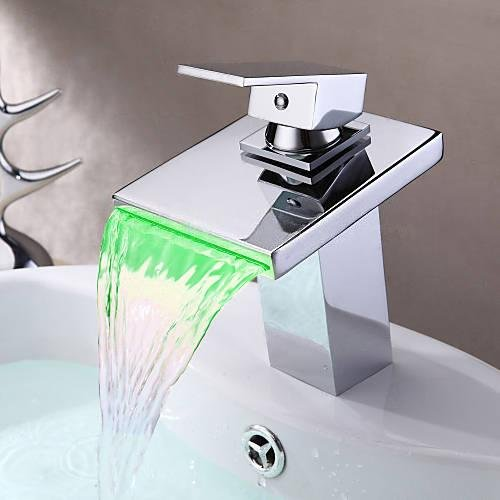 Yannlii LED Chrome Waterfall Bathroom Sink Faucet Water F...
