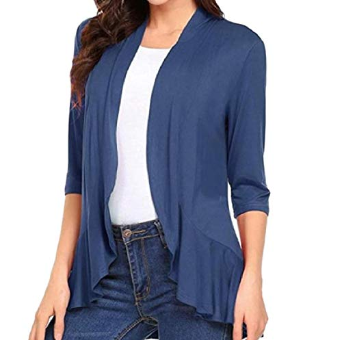 Navy Outwear Overcoat Autumn Womens Casual blue Open Solid Falbala Front XINHEO wz6q7n