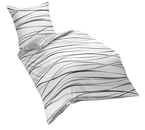 Kaeppel G-105840-49D1-VL97 Bettwäsche Motion, schiefer, Linon, 1 x 80/80 plus 135/200 cm
