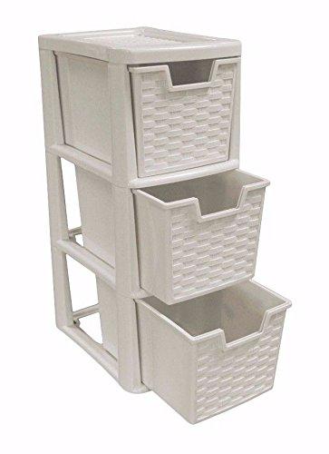 3 Drawer Small Mushroom Rattan Plastic Storage Tower Viss