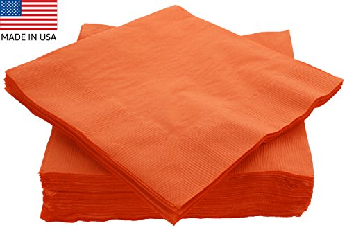 Amcrate Big Party Pack 50 Count Orange Dinner Napkins Tableware- Ideal for Wedding, Party, Birthday, Dinner, Lunch, Cocktails. (7