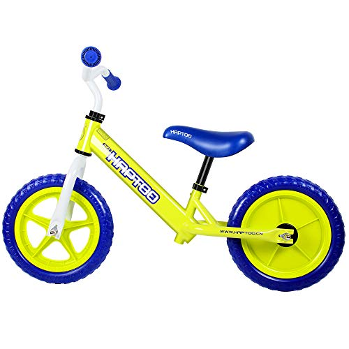 HAPTOO Toddler Balance Bike for 2 3 4 5 Year Old No Pedal No Training Wheels Adjustable Height Glide Bike Toddler Bicycle for Girls Boys - Blue/Green