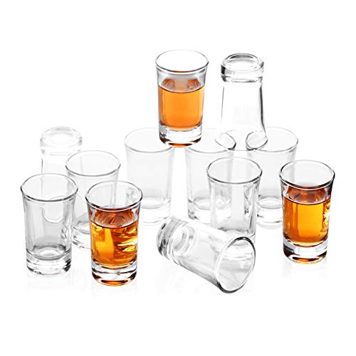 REATR 1.5 oz Shot Glass Set of 12 Clear Shot Glasses Thick Tequila Alcohol Rum Vodka Liqueur Mini Glass Cup Funny Drinking Glassware Shot Cup Mini Glass Tumbler Tequila Drink for Pub Restaurant