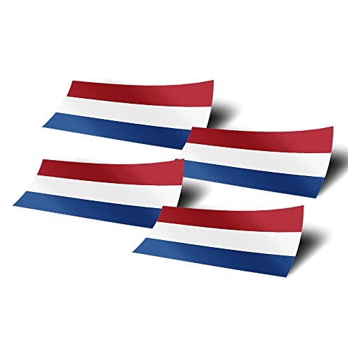 Netherlands 4 Pack of 4 inch Wide Country Flag Stickers Decal for Window Laptop Computer Vinyl Car Bumper Scrapbook Dutch Holland Netherlandic
