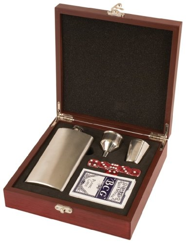 (Engraved Personalized Rosewood Finish Flask Set - FREE)