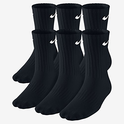 Nike Crew Cut Performance Cotton Socks 6 Pair | Arch Compression | Reinforced Heel & Toe | Moisture-Wicking Technology | Soft-Dry Material | Shock Absorption Design - Size: 8-12 Mens/10-13 Womens