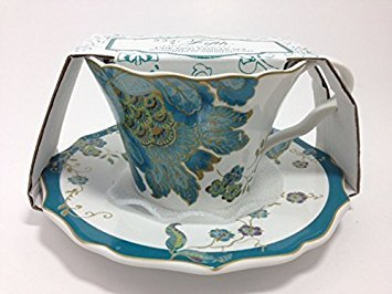 222 Fifth Eliza Teal Fine China Cup and Saucer Set