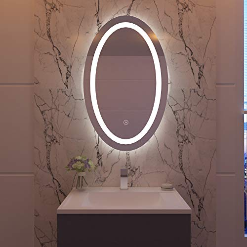 ELEGANT 500x700 Bathroom Wall Mirror with LED Lights Backlit with Demister Pad Touch Sensor