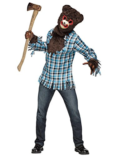 Fun World Men's Scary Teddy Bear Costume, Multi, Standard (Bear Teddy Mens Costume)