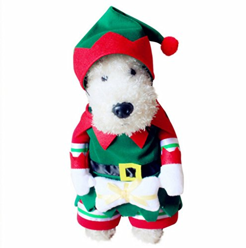 [PetBoBo Dog Cat Pet Christmas Elf Costumes Suit Hoodies Coat Winter Clothing Apparel Puppy Outwear Costume] (Pet Dalmatian Costumes)