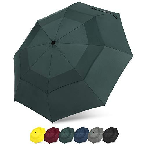G4Free Compact Travel Umbrella Vented Windproof Double Canopy Auto Open/Close Folding Umbrella with SAFE LOCK (Dark Green)