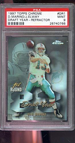 (1997 Topps Chrome 83 Draft Year REFRACTOR #DR1 John Elway Dan Marino Insert MINT PSA 9 Graded NFL Football Card)
