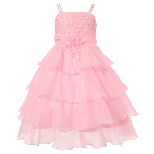 Richie House Girls' Layered Dress with Pearl Accents RH0918-A-7/8 ()