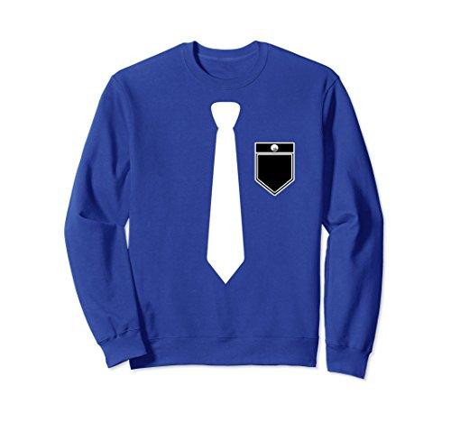 Sweatshirt Tux (Unisex Formal Tuxedo Black Tie Tux Sweatshirt Sweater Pullover Large Royal Blue)