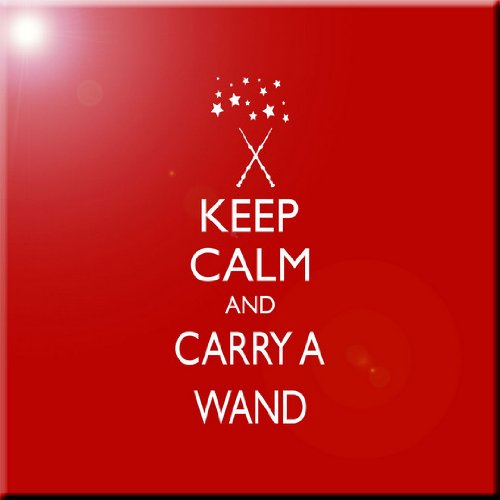 Rikki Knight Keep Calm and Carry a Wand-Red Color Design Ceramic Art Tile 6 x 6