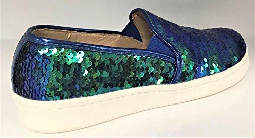 Chase & Chloe Celine-16 Kvinner Paljett Gnisten Slip På Loafer Sneaker Leiligheter Havfrue Multi Farge Multi Farge