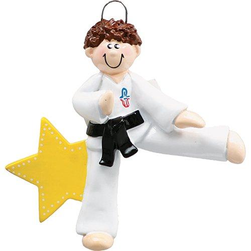 (Personalized Karate Boy Christmas Tree Ornament 2019 - Brown Hair Martial Art Athlete Man Belt Kick Pose School Teacher Hobby Child Grand-Son Star Gift Year - Free Customization (Brunette)