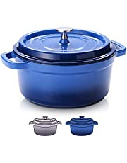 SULIVES Non-Stick Enamel Cast Iron Dutch Oven Pot with Lid Suitable for bread baking use on gas electric oven