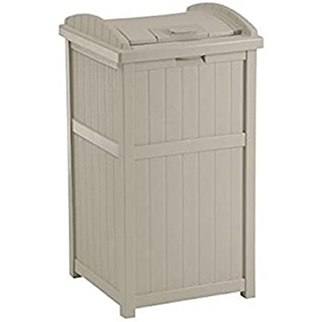 Suncast 30 33 Gallon Deck Patio Resin Garbage Trash Can Hideaway, Taupe |  GH1732