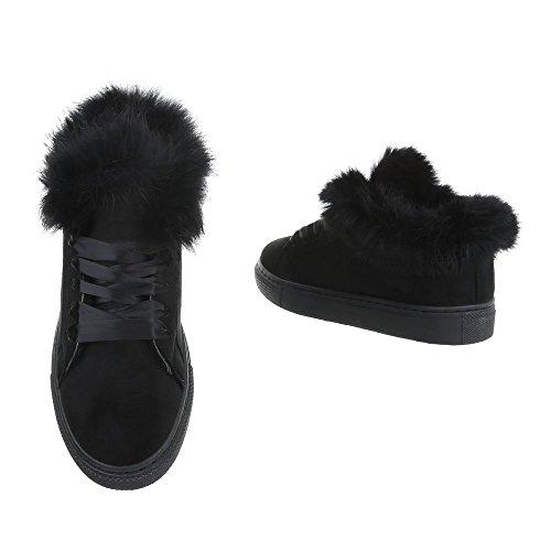 Zapatillas Ital Design Zapatillas Negro bajas para Zapatos Plano mujer YUgOfq