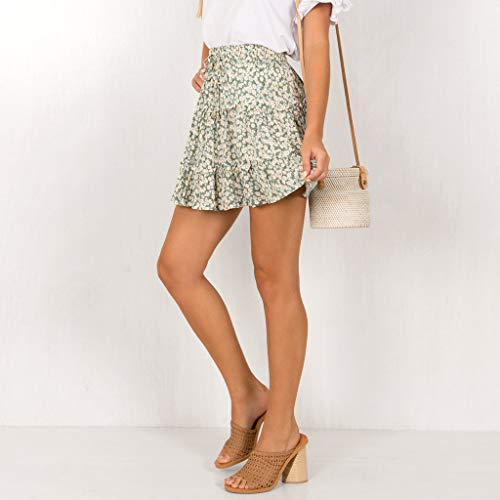 TWGONE Ruffled Mini Skirt For Women Summer Bohe High Waist Floral Print Beach Short Skirt (Medium,Green) by TWGONE (Image #4)