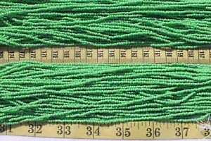 Hank Bead Seed 10/0 Czech - Opaque Medium Green 10/0 Czech Glass Seed Beads Craft Jewelry/Hank Spacer Beads and Roll Crystal String for Bracelets Jewelry Making