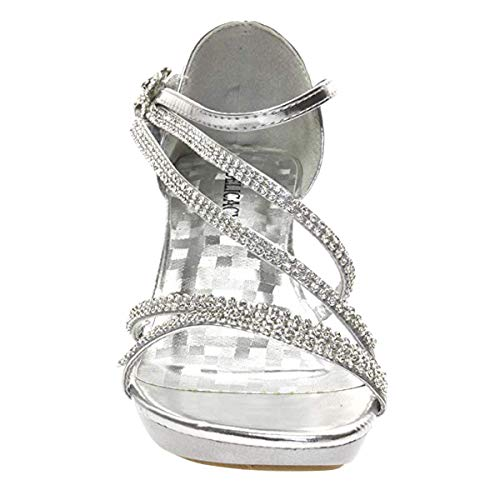 V-Luxury Delicacy Womens Angel-48 Party Dress Sandals Pumps,Silver,7