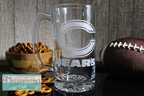 Chicago Bears Jumbo 28.5oz Hand Etched Glass Beer -