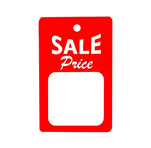 Large Red Tag Sign - 1000 Large Unstrung All Purpose Sale Price Merchandise Tags - Red & White - 1.75
