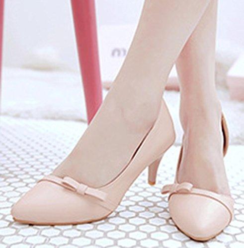 Idifu Mujeres Elegant Closed Toe Kitten Heels Slip On D-orsay Bombas Zapatos Con Lazo Rosa