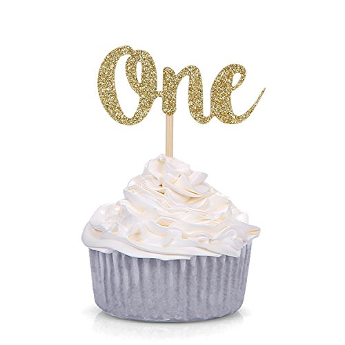 Set of 24 Gold Glitter Number One Cupcake Toppers Kids' First Birthday Party Decors